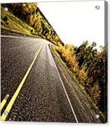Center Lines Along A Paved Road In Autumn Acrylic Print