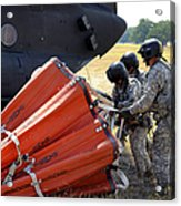 Ch-47 Chinook Helicopter Crew Prepare Acrylic Print