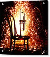 Chair And Horn With Fireworks Acrylic Print