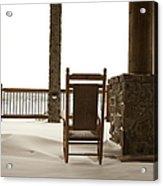 Chair On A Snowy Balcony Acrylic Print