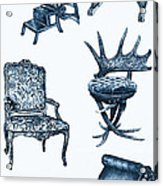 Chair Poster In Blue Acrylic Print by Adendorff Design