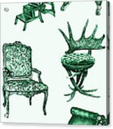 Chair Poster In Green  Acrylic Print