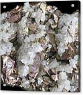 Chalcopyrite And Quartz Crystals Acrylic Print