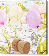 Champagne Cork, Ballons And Streamers Acrylic Print