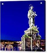 Charles Bridge Statue Of St John Of Nepomuk     Acrylic Print by Jon Berghoff