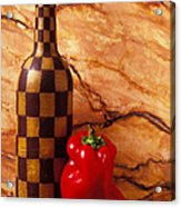 Checker Wine Bottle And Red Pepper Acrylic Print by Garry Gay
