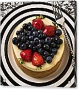 Cheese Cake On Black And White Plate Acrylic Print by Garry Gay