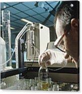 Chemist Analysing Fluids For Pesticide Pollutants Acrylic Print