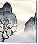Cherry Blossom Mountains Acrylic Print