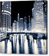 Chicago At Night At Dearborn Street Bridge Acrylic Print