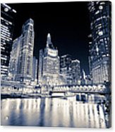 Chicago At Night At Michigan Avenue Bridge Acrylic Print