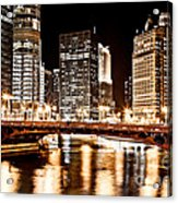 Chicago At Night At State Street Bridge Acrylic Print