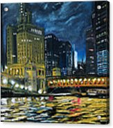 Chicago At Night Acrylic Print by Peter Jackson