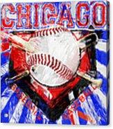 Chicago Baseball Abstract Acrylic Print by David G Paul