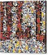 Chicago Bulls Michael Jordan Cards Mosaic Acrylic Print by Paul Van Scott