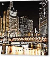 Chicago City At Night Acrylic Print