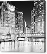 Chicago Cityscape At Night At Dusable Bridge Acrylic Print