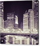 Chicago Cityscape At State Street Bridge Acrylic Print