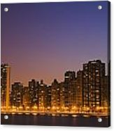 Chicago Downtown Skyline At Night Acrylic Print