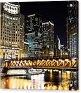 Chicago Dusable Michigan Avenue Bridge At Night Acrylic Print