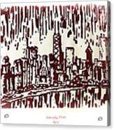 Chicago Great Fire Of 1871 Serigraph Of Skyline Buildings Sears Tower Lake Michigan John Hancock  Acrylic Print