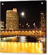 Chicago Michigan Avenue Dusable Bridge At Night Acrylic Print