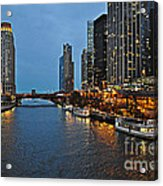 Chicago River At Twilight Acrylic Print