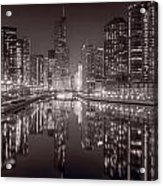 Chicago River East Bw Acrylic Print