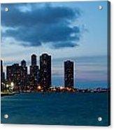 Chicago Skyline And Navy Pier At Dusk Acrylic Print