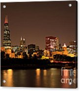Chicago Skyline Downtown City Buildings At Night Acrylic Print by Paul Velgos
