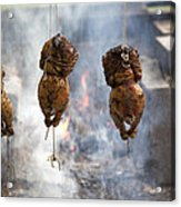 Chickens Roasting On Open Pit Fire Acrylic Print