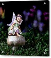 Child Fairy On Mushroom Acrylic Print