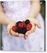 Child Holding Berries Acrylic Print