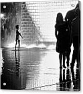 Child  Playing In Water Fountain Acrylic Print