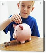 Child With A Piggy Bank Acrylic Print by Ian Boddy