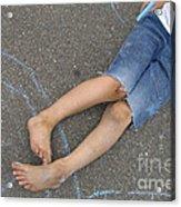 Childhood - Boy Draws With Chalk Acrylic Print