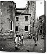 Children At Play In A Venice Piazza Acrylic Print