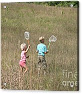 Children Collecting Insects Acrylic Print by Ted Kinsman