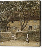 Children Outside A Cottage Acrylic Print