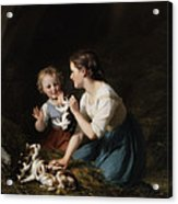 Children With Kitten Acrylic Print