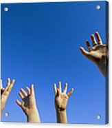 Childrens Hands Reach Toward The Blue Acrylic Print