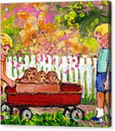 Chilrens Art-boy And Girl With Wagon And Puppies Acrylic Print