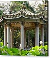 Chinese Pavilion In A Lotus Flower Garden Acrylic Print
