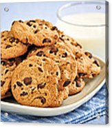 Chocolate Chip Cookies And Milk Acrylic Print by Elena Elisseeva