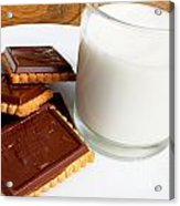 Chocolate Coated Butter Cookies And Milk Acrylic Print