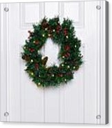 Chrismas Wreath On A White Door Acrylic Print