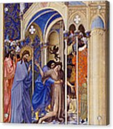 Christ Exorcising A Demon From A Possessed Youth: Illumination From The 15th Century Ms. Of The Tres Riches Heures Of Jean, Duke Of Berry Acrylic Print