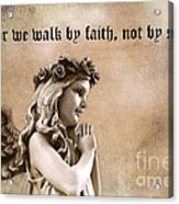 Christian Faith Girl Angel With Praying Hands Acrylic Print by Kathy Fornal