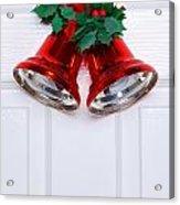 Christmas Bells On A White Door Acrylic Print