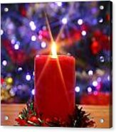 Christmas Candle With Starburst And Decorated Tree Background. Acrylic Print